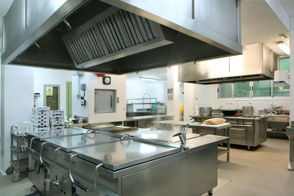 a cleaned kitchen hood in restaurant
